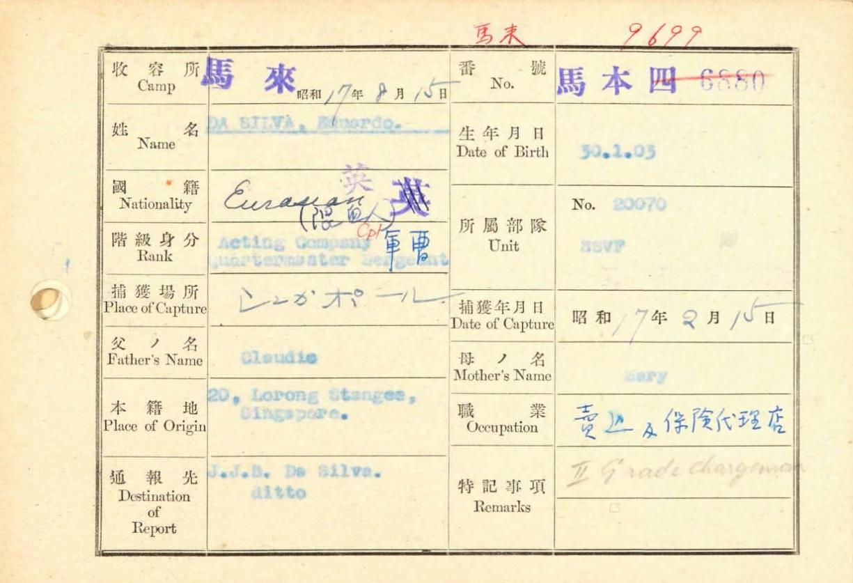 Prisoner File from Eduardo da Silva.